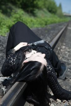 Free Gothic Girl On Railway Royalty Free Stock Photography - 9862117