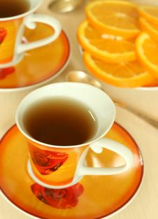 Free Cup Of Tea And Oranges Royalty Free Stock Photo - 9862315