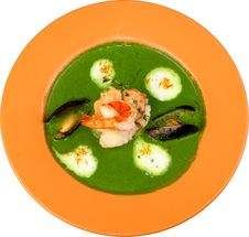 Free Soup From Spinach With Shrimps Fuagra Stock Photo - 9862600