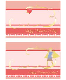 Free Set Of 2 Valentine S Day Cards Stock Photography - 9864462
