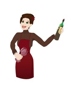 Free Woman Presenting Wine Royalty Free Stock Photography - 9864467
