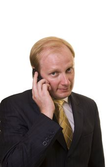 Businesman With Phone Royalty Free Stock Photography
