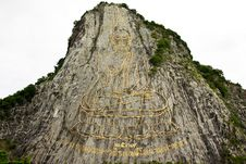 Engraving Of Buddha Image On Surface Of Mountain Royalty Free Stock Image