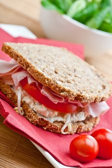 Healthy Ham, Cheese And Tomato Sandwich Stock Photo