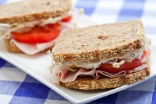 Healthy Ham, Cheese And Tomato Sandwich Stock Image