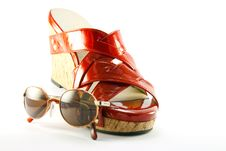 Red Shoe And Sunglasses Royalty Free Stock Photos