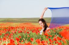 Free Attractive Girl In The Poppy Field Stock Photography - 9866082