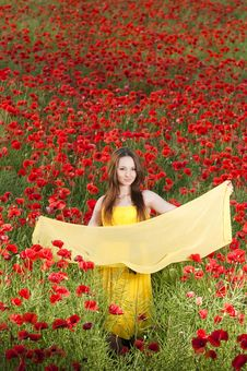 Free Beautiful Young Girl With Yellow Scarf Royalty Free Stock Photos - 9866178