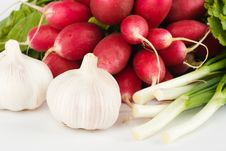 Free Spring Onions, Garlic, Lettuce And Radish Stock Photography - 9866182
