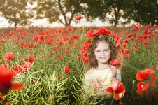 Free Smiling Little Girl In The Poppy Field Stock Photo - 9866220