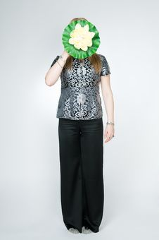 Free Woman With Lotus Flower Stock Images - 9866364
