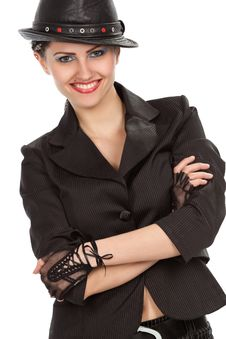 Free Young Fashionable Model With Black Hat Royalty Free Stock Photo - 9866445