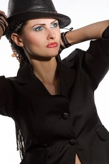Free Young Fashionable Model With Black Hat Stock Photo - 9866450