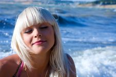 Free The Beautiful Blonde The Girl Against The Sea Stock Image - 9867221