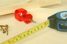 Boards, Screw-driver And Measuring Tape Stock Image