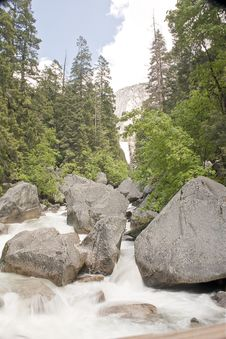 Free Base Of Vernal Falls River With Rapids Royalty Free Stock Images - 9867279