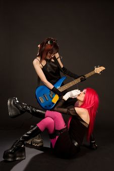 Free Sexy Rock Girls With Bass Guitar Stock Images - 9867464