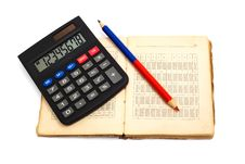 Calculator, Pencil And Old Book