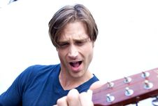 Attractive Guitar Player Royalty Free Stock Photos
