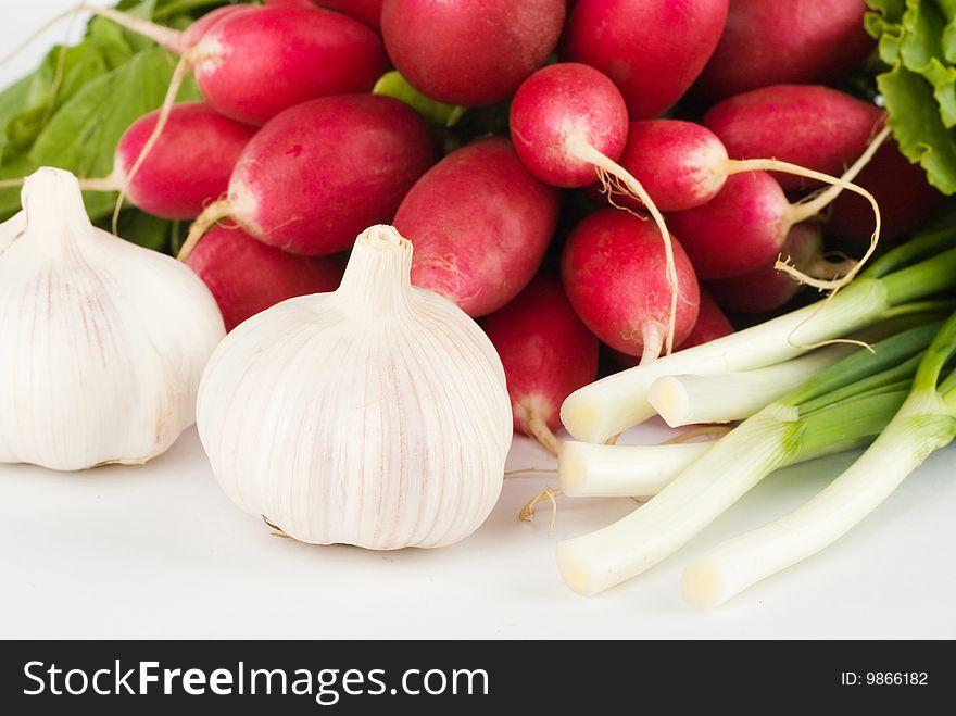 Spring onions, garlic, lettuce and radish