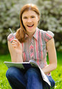 Free Pretty Girl Studying Outdoors Royalty Free Stock Images - 9875849