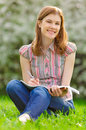 Free Pretty Girl Studying Outdoors Stock Images - 9875864