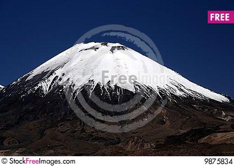Snowcapped volcano Parinacota Stock Photo