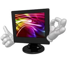 Lcd Monitor Character Figure Royalty Free Stock Photos
