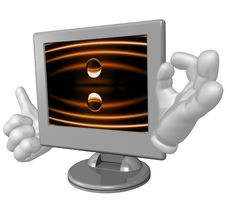 Lcd Monitor Character Figure Stock Image