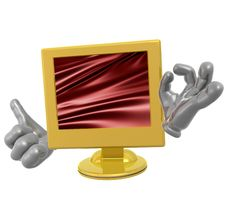 Lcd Monitor Character Figure Stock Photography