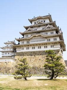 Free Himeji Castle With Trees Royalty Free Stock Photo - 9873105
