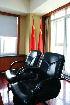 Free Office Seating Area With Chinese Flags Royalty Free Stock Image - 9873486
