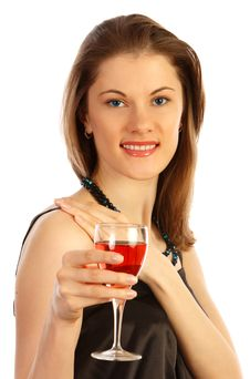 Free Beautiful Girl With A Glass Of Rose Wine Royalty Free Stock Image - 9875146