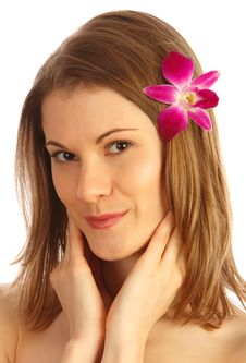 Free Beautiful Girl With A Flower Royalty Free Stock Photography - 9875297