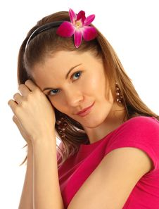 Free Attractive Girl With A Flower Royalty Free Stock Photography - 9875507