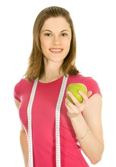 Free Beautiful Girl Holding An Apple And A Measure Tape Royalty Free Stock Photos - 9875988