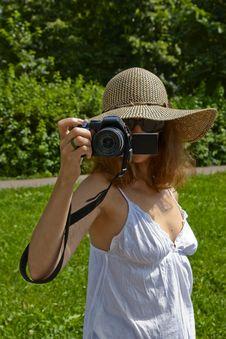 Girl Taking Photos Outdoors Royalty Free Stock Photos