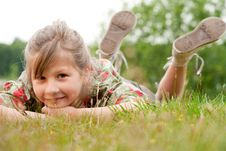 Free Sweet Child In The Grass Royalty Free Stock Photos - 9876378