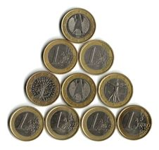 Free One Euro Coins Royalty Free Stock Images - 9877289