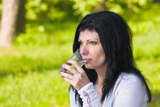 Free Girl Drinking Water Stock Image - 9877411