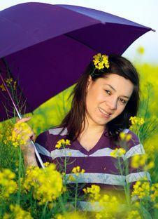 Girl Posing With Umbrella Stock Image