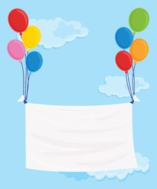 Free Balloons Flying With Noticeboard Stock Images - 9878184