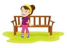 Free Girl Sitting On A Bench Stock Images - 9878494