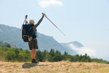 Free Hiker On A Peak Stock Image - 9878731