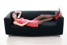 Free Young Woman Relaxing Royalty Free Stock Images - 9878849