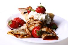 Free Dessert Plate Witn Pancakes And Strawberry Stock Image - 9879871