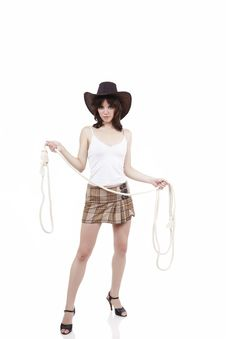 Free Cowgirl With Lasso In Hands Royalty Free Stock Photo - 9882535