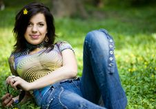 Free Girl In A Forest Stock Image - 9882641