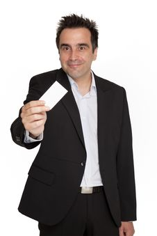 Free Businessman Hold His Personal Card Stock Images - 9883164