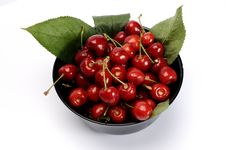Free Black Bowl With Cherry Stock Image - 9886981
